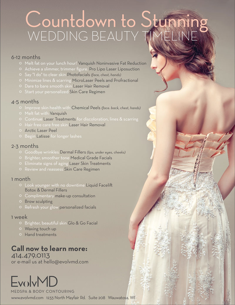 Countdown to Stunning: Wedding Beauty Timeline at EvolvMD in Wauwatosa, WI