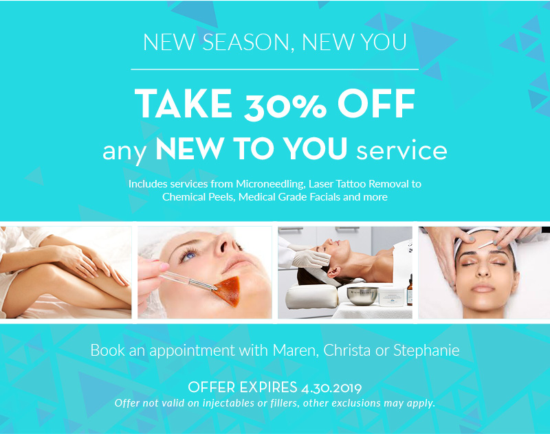 30% off any new to you skincare treatment service- milwaukee