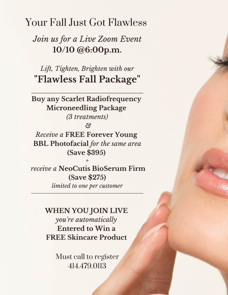 Save on Scarlet RF Microneedling and BBL Photofacials at EvolvMD in Wauwatosa WI with our skincare specials